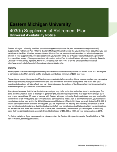 403(b) Supplemental Retirement Plan Eastern Michigan University Universal Availability Notice