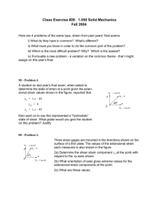 Class Exercise #26   1.050 Solid Mechanics Fall 2004