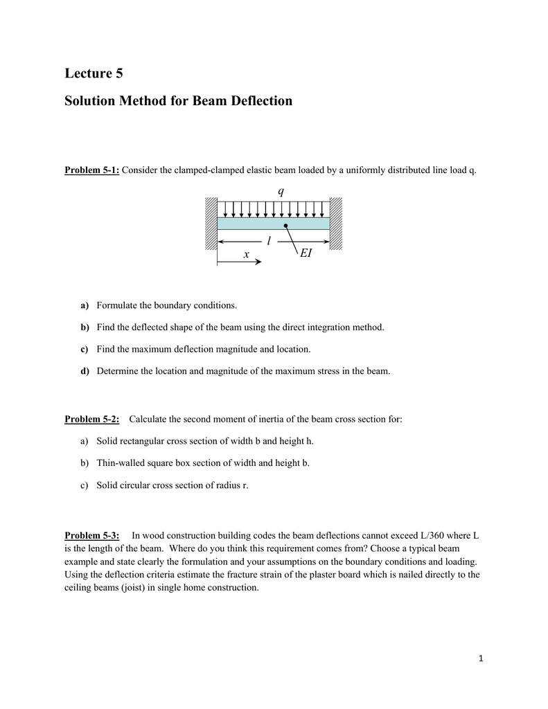 Lecture 5 Solution Method for Beam Deflection q l
