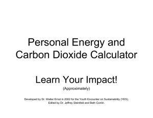 Personal Energy and Carbon Dioxide Calculator Learn Your Impact! (Approximately)