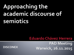 Approaching the academic discourse of semiotics DISCONEX