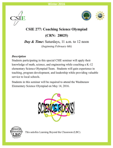 CSIE 277: Coaching Science Olympiad (CRN:  28025)  Day & Time