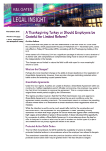 A Thanksgiving Turkey or Should Employers be Grateful for Limited Reform?