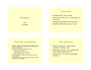 Class details Probability I