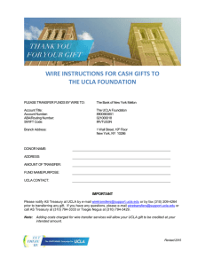 WIRE INSTRUCTIONS FOR CASH GIFTS TO THE UCLA FOUNDATION