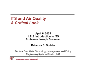 ITS and Air Quality A Critical Look April 6, 2005