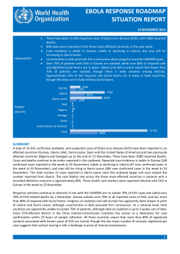 EBOLA RESPONSE ROADMAP SITUATION REPORT EBOLA RESPONSE ROADMAP SITUATION REPORT