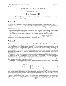 6.874/7.90 Computational Functional Genomics Handout 1 Spring 2005 February 3
