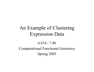 An Example of Clustering Expression Data 6.874 / 7.90 Computational Functional Genomics
