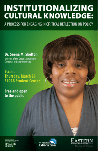 Dr. Seena M. Skelton Free and open to the public 9 a.m.
