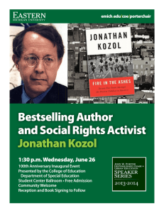Bestselling Author and Social Rights Activist Jonathan Kozol 1:30 p.m. Wednesday, June 26
