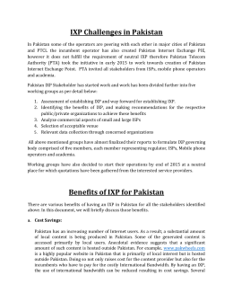 IXP Challenges in Pakistan