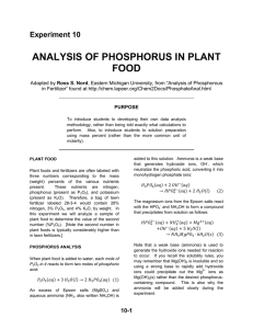ANALYSIS OF PHOSPHORUS IN PLANT FOOD Experiment 10