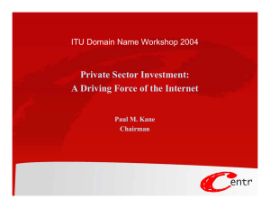 Private Sector Investment: A Driving Force of the Internet Paul M. Kane