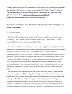 "[citation: VozMob project (2010). ""Mobile Voices: projecting the voices of... appropriating mobile phones for popular communication,"" in Napoli, P.M., and..."