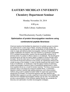 EASTERN MICHIGAN UNIVERSITY Chemistry Department Seminar Monday November 24, 2014 4:00 p.m.