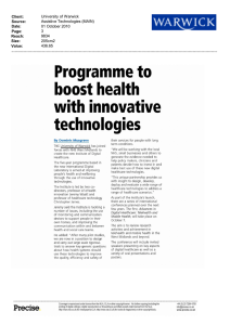 Programme to boost health with  innovative technologies