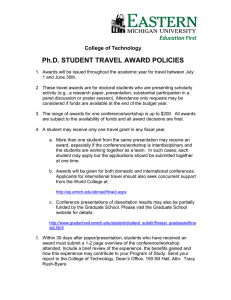 Ph.D. STUDENT TRAVEL AWARD POLICIES College of Technology