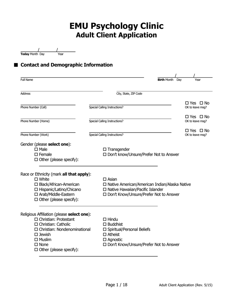 EMU Psychology Clinic Adult Client Application Contact and