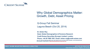Why Global Demographics Matter: Growth, Debt, Asset Pricing Q-Group Fall Seminar