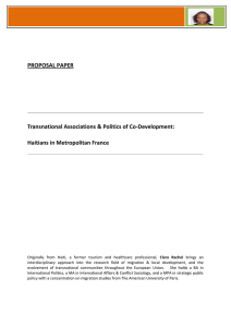 PROPOSAL PAPER  Transnational Associations & Politics of Co‐Development:  Haitians in Metropolitan France