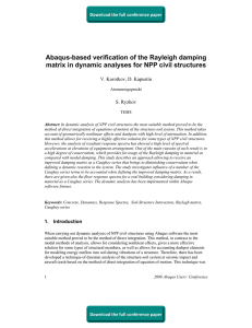 Abaqus-based verification of the Rayleigh damping V. Korotkov, D. Kapustin S. Ryzhov