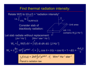 Find thermal radiation intensity: ∫