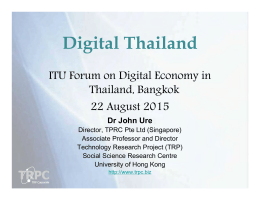 Digital Thailand ITU Forum on Digital Economy in Thailand, Bangkok 22 August 2015
