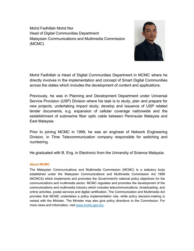 Mohd Fadhillah Mohd Nor Head of Digital Communities Department