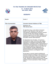 ITU-TRAI TRAINING ON CONSUMER PROTECTION 21 – 23 March 2016