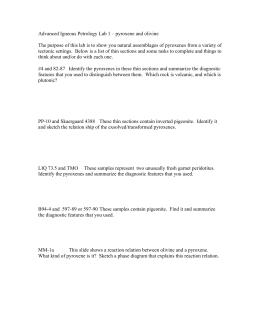 Advanced Igneous Petrology Lab 1 – pyroxene and olivine