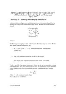 MASSACHUSETTS INSTITUTE OF TECHNOLOGY 6.071 Introduction to Electronics, Signals and Measurement