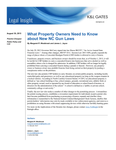 What Property Owners Need to Know about New NC Gun Laws