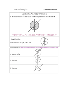 VERTICAL ANGLES ARE CONGRUENT Vertical Angles