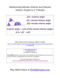 Relationship between Exterior and Remote Interior Angles in a Triangle