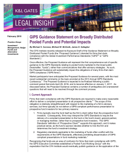 GIPS Guidance Statement on Broadly Distributed Pooled Funds and Potential Impacts