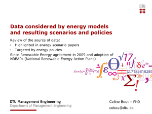 Data considered by energy models and resulting scenarios and policies