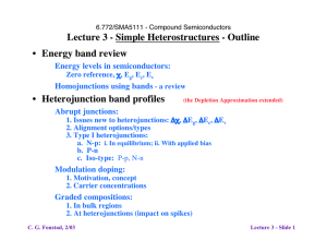 Lecture 3 - Simple Heterostructures - Outline Energy band review