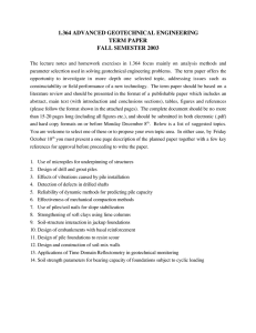 1.364 ADVANCED GEOTECHNICAL ENGINEERING TERM PAPER FALL SEMESTER 2003