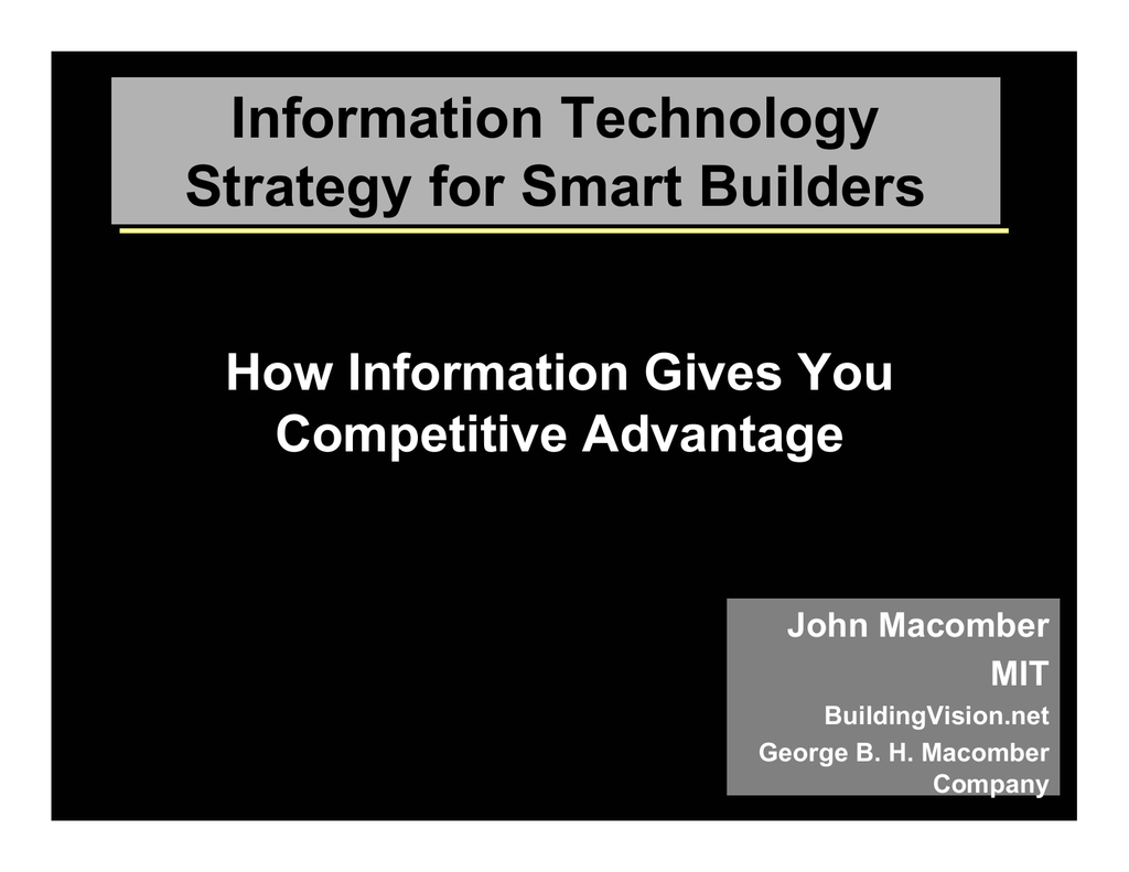 strategic information technology opportunities for competitive advantage