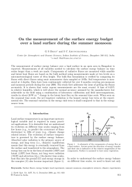 On the measurement of the surface energy budget G S Bhat