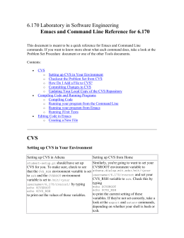 6.170 Laboratory in Software Engineering Emacs and Command Line Reference for 6.170