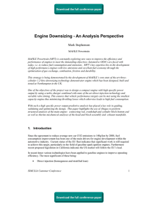 Engine Downsizing - An Analysis Perspective Mark Stephenson