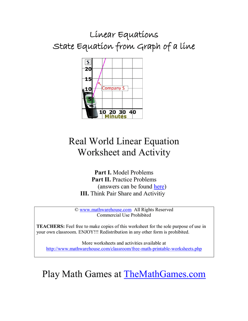 Real World Linear Equation Worksheet and Activity Linear Equations – Think Pair Share Worksheet