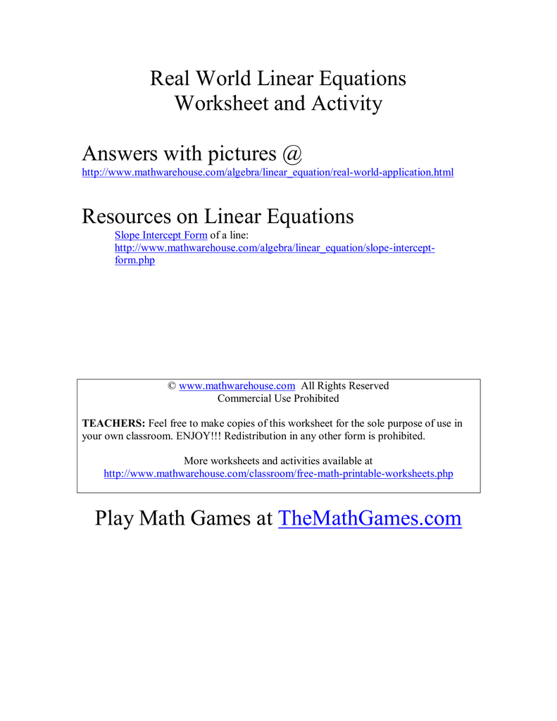 Real World Linear Equations Worksheet and Activity Answers with ...