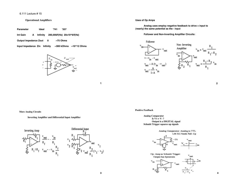 6111 Lecture 15 Operational Amplifiers Simple Op Amp Inverting Amplifier Circuit Employing Negative