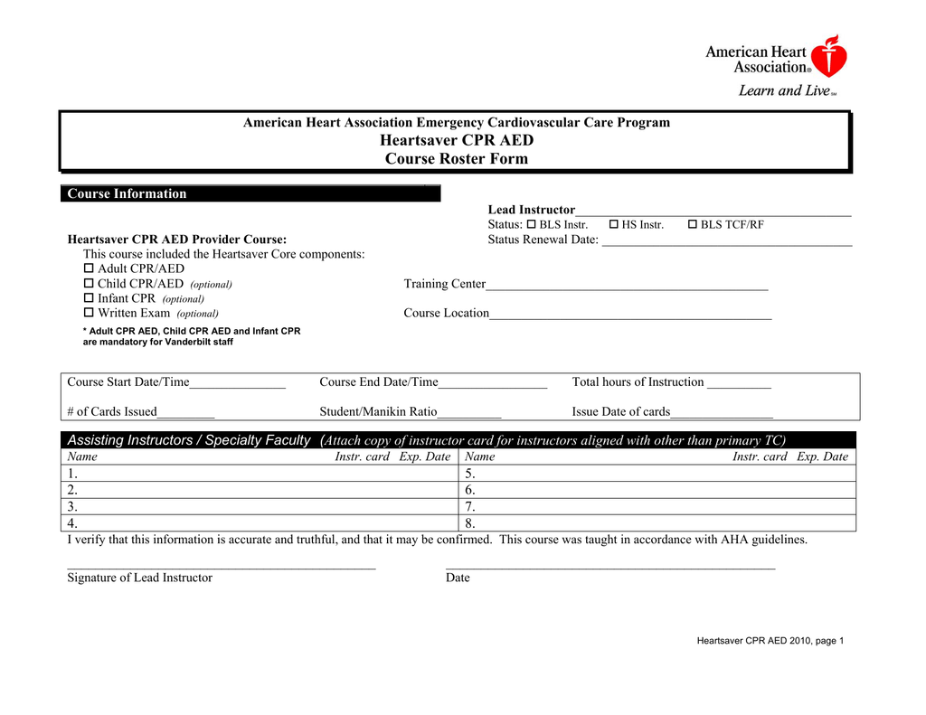 Heartsaver Cpr Aed Course Roster Form