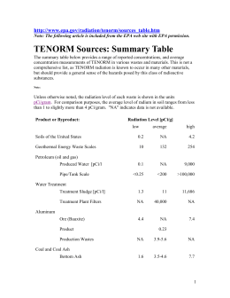 TENORM Sources: Summary Table