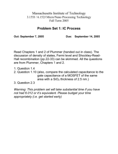 Massachusetts Institute of Technology Problem Set 1: IC Process