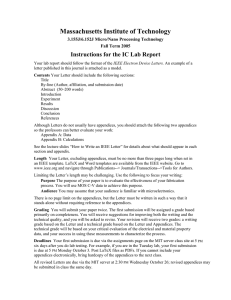 Massachusetts Institute of Technology Instructions for the IC Lab Report
